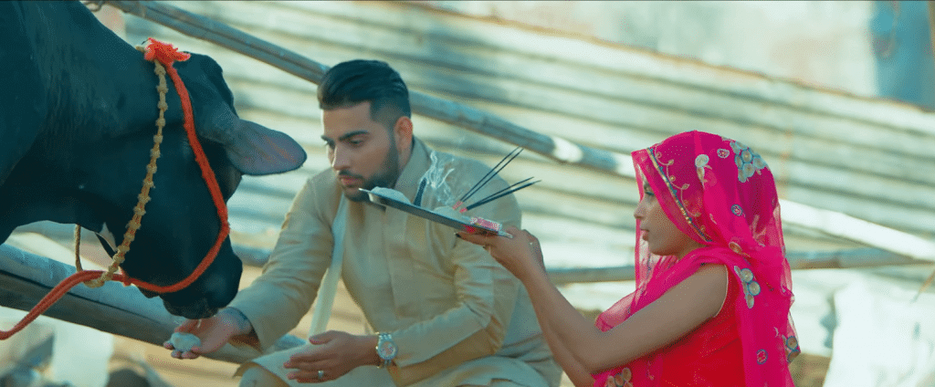 Latest Punjabi Songs 2019 of Karan Aujla image with gaoo maata cow pooja
