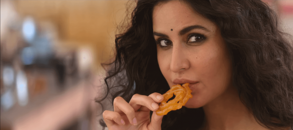 Katrina Kaif tasting Jalabi in bharat movie pic